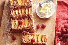 Nectarine and hazelnut tart