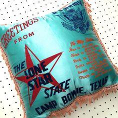 1940s U.S. Army Camp Bowie Texas Lonestar State Pillow #americana #souvenirs #roadtrips #vintagedecor #vintagestyle #retro #retrostyle #campbowie #sisters #vintagepillows #pillowcushion #throwpillows