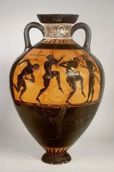 Attic black-figure panathenaeic amphora. On the visible side: Athletes with a discus, spear and jumping. On the other side Athena promachos. These amphoras were prizes in sport competetions. These competetions were part of multiple day festivals for the gods. The one we all still play was for Zeus at Olympus, known better as the Olympic Games. Classical Greek period. Found in Greece. 530 BC. Source: Leiden Museum of Antiquities