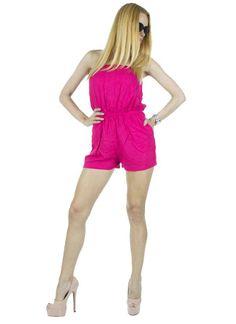 Salopeta Dama Pink  Salopeta dama casual-elegant ce poate fi purtata la diferite ocazii. Material vaporos ideal pentru sezonul cald.  Detaliu - elastic in talie, ce pune in evidenta silueta.     Lungime: 63cm  Latime talie: 35cm  Compozitie: 100%Poliester Pune, Rompers, Casual, Dresses, Fashion, Lady, Vestidos, Moda, Fashion Styles