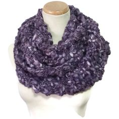 Knit Scarf, Purple Scarf, Chunky Scarf, Infinity Scarf, Hand Knit... ($50) ❤ liked on Polyvore featuring accessories, scarves, cowl scarves, knit circle scarf, knit infinity scarves, tube scarves and purple infinity scarf