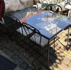 Aladdin Wrought Iron & Glass Table & 3 Chairs Vintage Vintage Brooklyn NY USA   | eBay