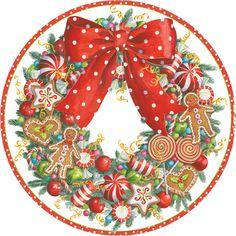 Caspari Christmas Candy Wreath Printed Paper Dessert Plates Wholesale 13970SP