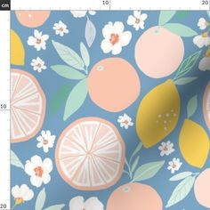 Jumbo Fabric - Indy Bloom Design Grapefruit Lemon C By Indybloomdesign - Jumbo Cotton Fabric By The