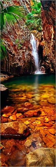 Kimberley Tropical Oasis - A magical grotto amid a tiny remnant of Kimberley rainforest, El Questro Gorge Falls is the reward after a long hike through spectacular tropical scenery. East Kimberley, Western Photo by Adam Monk Image Nature, All Nature, Amazing Nature, Places Around The World, Oh The Places You'll Go, Places To Travel, Beautiful Waterfalls, Beautiful Landscapes, Beautiful World