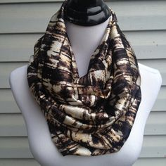 Brown Square Infinity Scarf