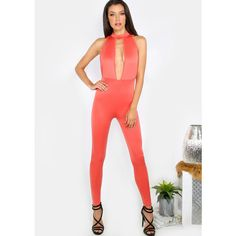 Plunge Keyhole Jumpsuit CORAL ($20) ❤ liked on Polyvore featuring jumpsuits, red, metallic jumpsuit, white romper, coral jumpsuits, romper jumpsuit and white jump suit