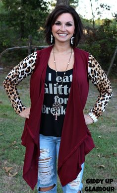 Hit the Spot Maroon Cardigan with Leopard Sleeves www.gugonline.com