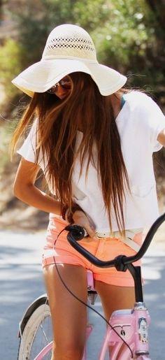 Neon shorts, long hair and fun, floppy hats scream summer! Peach Shorts, Coral Shorts, Bright Shorts, Orange Shorts, Pastel Shorts, Denim Shorts, Belted Shorts, Jeans, Cute Fashion
