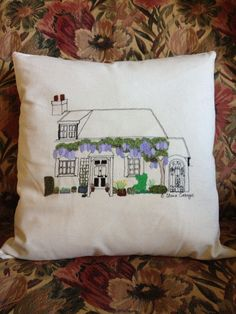 Free motion embroidery cushion I made of my Mum's cottage.