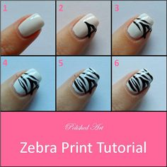 Zebra Print Nail Tutorial.  Well that makes it a lot easier....