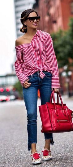 stripe off-the-shoulder top