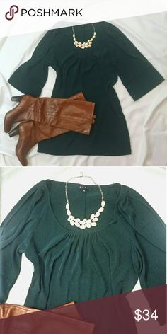 """Emerald Dress With Sleeve Cutouts Perfect dress for fall! Bell sleeves with cutouts. 32""""  long. 100% polyester. Glam Dresses Long Sleeve"""