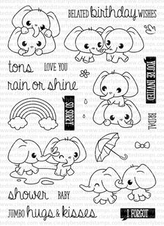 This is a inch clear stamp set. Doodle Drawings, Doodle Art, Cute Drawings, Colouring Pages, Coloring Books, Animal Doodles, Bullet Journal Inspiration, Digital Stamps, Clear Stamps