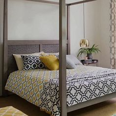 John Lewis Indah Duvet set. I actually own this bedding, and it's so lovely for my #sleepsanctuary! Traditional meets modern, and the yellow pairs really well with dark wood accents.