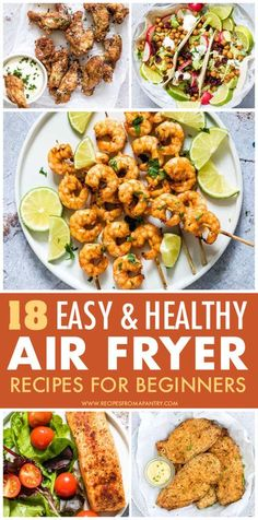 Looking for Healthy Air Fryer Recipes that are tasty, quick & easy to make? Each of the air fryer recipes in this collection are under 425 kcal, with most less than 350 kcal! But you'd never know it, since these easy air fryer recipes are SO delicious. They are all low calories and low carbs. Eating healthy has never tasted so good! #airfryer #airfryerrecipes #lowcalories #healthyrecipes #easyairfryerrecipes #wwrecipes #airfryrecipes #airfriedfood #airfry #air-fryer Air Fryer Recipes Vegan, Air Frier Recipes, Air Fryer Dinner Recipes, Air Fryer Healthy, Lunch Recipes, Healthy Recipes, Dishes Recipes, Gf Recipes, Oven Recipes