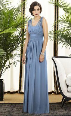 A-line Sleeveless V-neck Lavender Chiffon Floor-length Bridesmaid Dresses(UKBD03-735)