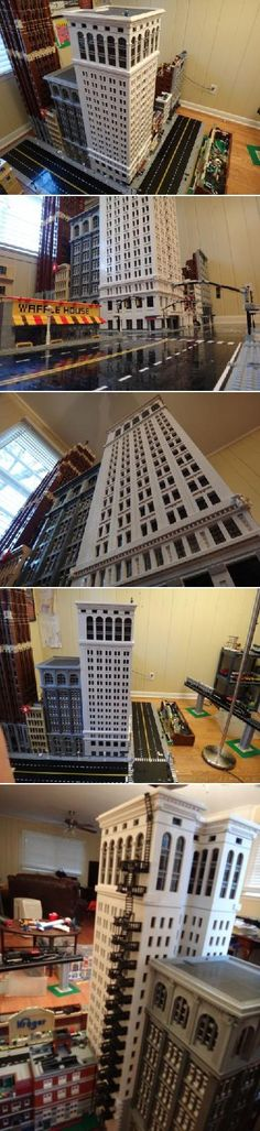 What is over 4 feet tall, has over LEGO bricks, took a year to build, and is an incredible sight? You HAVE to see this scale replica of the Ford Building in Downtown Detroit. The question is, do the kids get to play with this magnificent art piece? Lego Moc, Lego Duplo, Lego Skyscraper, City Layout, Amazing Lego Creations, Lego Boards, Lego Modular, Awesome Lego, Lego Design