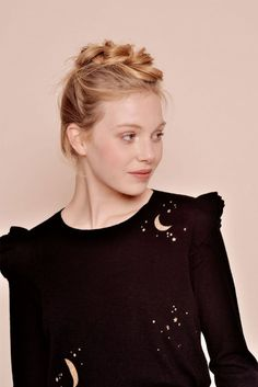 6dc5312c43e0f Des Petits Hauts Delbie Sweater in Noir   A cosy jumper with frill shoulder  detail and