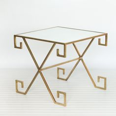 Greek Key Table Gold Leaf With Plain Mirror by Worlds Away