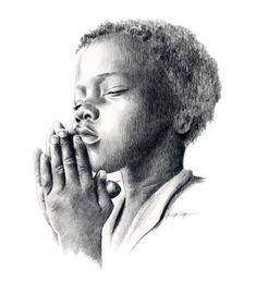 PRIÈRE enfant crayon dessin Art Print signée par par k9artgallery