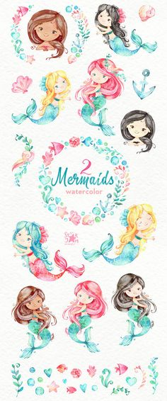 This set of Mermaids watercolor part 2 is just what you needed for the perfect invitations, craft projects, paper products, party decorations, printable, greetings cards, posters, stationery, scrapbooking, stickers, t-shirts, baby clothes, web designs and much more.  :::::: DETAILS ::::::  This collection includes: - 36 Images in separate PNG files, transparent background, size approx.: 12-2in (3600-600px)  300 dpi RGB  Another set with Mermaids: https://www.etsy.com/shop&#x2F...