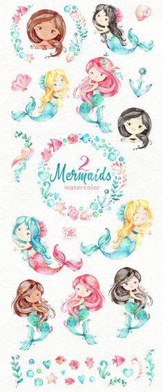 Sirenas 2. Acuarela imágenes prediseñadas mar chicas magia
