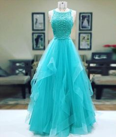 Unique tulle lace long prom dress, tulle evening dress, green formal dress for teens