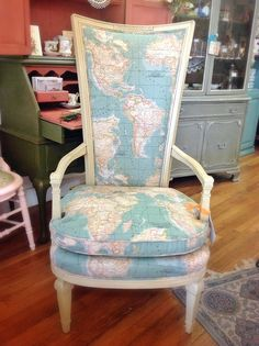 Beautiful imported french Annie Sloan fabric on vintage chair painted in Versailles ...from the Chalk Paint ® by Annie Sloan range of colors...The Empty Nest