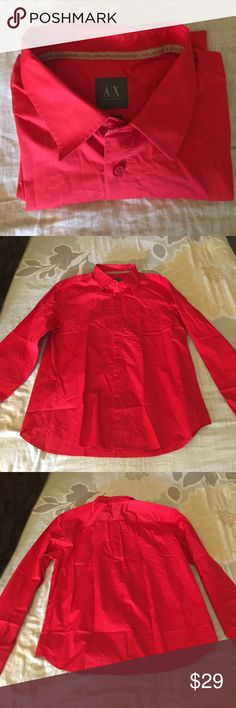 Men's Red Armani Exchange long sleeve dress shirt Men's Red Armani Exchange long sleeve dress shirt in size XL in great condition with front pocket. A/X Armani Exchange Shirts Dress Shirts