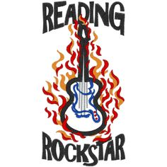 Guitar (A20) Reading Rockstar Applique 5x7