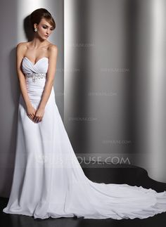 Wedding Dresses - $145.99 - A-Line/Princess Sweetheart Chapel Train Chiffon Wedding Dress With Ruffle Beading Sequins (002011407) http://jjshouse.com/A-Line-Princess-Sweetheart-Chapel-Train-Chiffon-Wedding-Dress-With-Ruffle-Beading-Sequins-002011407-g11407