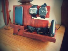 Nightstand Docking Station/ Organizer by PacificNorthWoods on Etsy