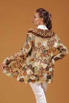 Irish crochet coat using freeform styling