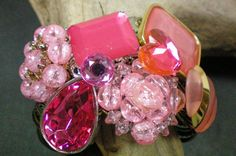 Pink explosion. Super chunky pink cuff by OutsiderArtJewelry, $40.00