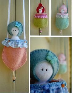 Pouch Pixies  cute felt softie dolls in a pocket to hang by kate54, $18.50