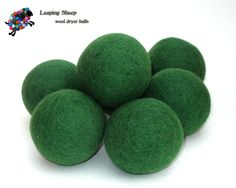 Leaping Sheep all natural  GIRL SCOUT green  colored wool dryer ball