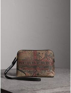 2fd96a94e23 Burberry Large Doodle Print Coated Check Canvas Pouch