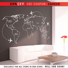 Outlined world map decal with continents vinyl wall sticker decals world map outlines wall decal continents decal large world map vinyl wall sticker world map wall sticker gumiabroncs Gallery