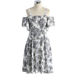 Chicwish Serene Floral Sketch Cold Shoulder Dress ($53) ❤ liked on Polyvore featuring dresses, multi, cotton slip dress, floral print dress, blue summer dress, blue floral dress and cotton dress