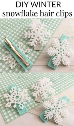 DIY WINTER SNOWFLAKE HAIR CLIPS - These DIY winter snowflake hair clips are the perfect Frozen inspired hair accessory for your daughter.