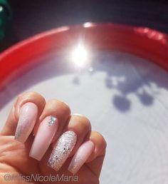 Blush pink + Glitter + Diamond  tapered square tip long nails #nail #nailart #nails