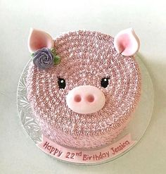 This would be so cute for a farm theme baby shower! Fancy Cakes, Cute Cakes, Pretty Cakes, Cake Icing, Buttercream Cake, Cupcake Cakes, My Birthday Cake, Pig Birthday, Wilton Cake Decorating