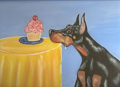"Doberman ,Dog Art  Signed Print of Painting  "" Sweet Temptation ""  Reminds me of my two so bad!!"