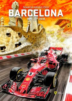 Scuderia Ferrari's stunning 2018 Spanish Grand Prix poster for the race in Barcelona, Spain features elements of the historic city and Sebastian Vettel's beautiful Ferrari Formula 1 car. Artwork by Carlos Gomez 🇪🇸 Abu Dhabi, Stock Car, Spanish Grand Prix, Nascar, Gp F1, Automobile, Ferrari F1, Ferrari Scuderia, Formula 1 Car