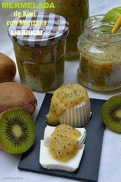 Con sabor a canela: Mermelada de Kiwi y Manzana sin azúcar Sugar Free Recipes, Jam Recipes, Sweet Recipes, Diabetic Desserts, Diabetic Recipes, Delicious Desserts, Kiwi Jam, Chocolates, Fruit Sauce