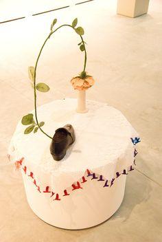 "Nilbar Güres ""Rose of Sapatao"" wire ribbones, modelling clay, one shoe size ceramics, lacework Galerie Martin Janda, Vienna Modelling Clay, Art Fair, Vienna, Contemporary Art, Wire, Concept, Ceramics, Kunst, Ceramica"