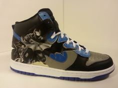 Batman, painted on Nike Dunks. Sold but I can make a similar pair.    https://www.etsy.com/listing/100225253/custom-painted-batman-shoes-nike-air