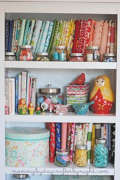 "Great crafting storage ideas.  The best one is to fold fabrics around cardboard to make mini ""bolts"" so you can see what you have.  Mommy by day Crafter by night: Sewing Storage Ideas"