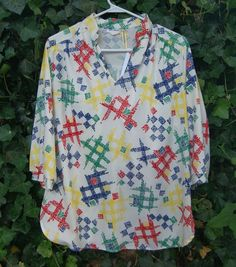 Vintage 1970's Multi-Color Polyester Blouse Top By Vicki Wayne - Size Large